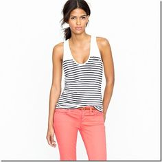 jcrew tank with colored jeans