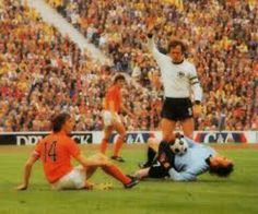 West Germany 2 Holland 1 in 1974 in Munich. The already booked Johan Cruyff fouled Sepp Maier but got away with it in the World Cup Final.