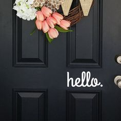 Door decal, hello door decal, hello decal, wall decal, hello wall decal  size: 7.5 width x 3.3 height Easy to apply. Peel and stick! Removable.  Ships