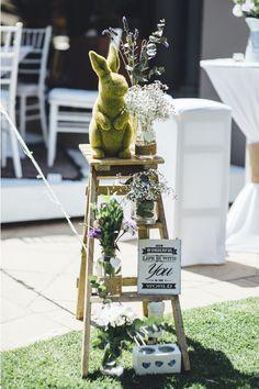 A DIY decor display with a ladder, bottles, flowers and some cute signage. Wedding Advice, Wedding Blog, Wedding Planner, Wedding Ideas, Wedding Inspiration, Eclectic Wedding, Elegant Wedding, Boho Wedding, South African Weddings