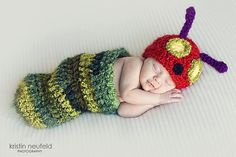 caterpillar crochet pod and hat