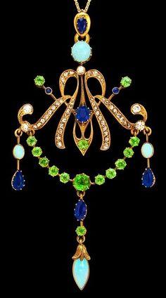 Art Nouveau opal, sapphire,diamond and demantoid garnet pendant.