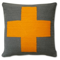 Jonathan Adler Cross Pillow Mustard And Grey in All Pillows And Throws