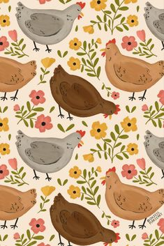 Colorful fabrics digitally printed by Spoonflower - Springtime Chickens Pumpkin Wallpaper, Fall Wallpaper, Cute Wallpaper Backgrounds, Wallpaper Iphone Cute, Cute Wallpapers, Chicken Wallpaper, Chicken Illustration, Chicken Pattern, Charm Pack Quilts