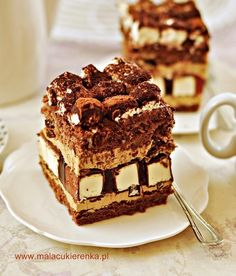 """Dziwaczek"" cake with marshmallows and coffee cream Easy Blueberry Muffins, Polish Recipes, Food Cakes, Homemade Cakes, Confectionery, Yummy Cakes, Delicious Desserts, Cake Recipes, Food And Drink"