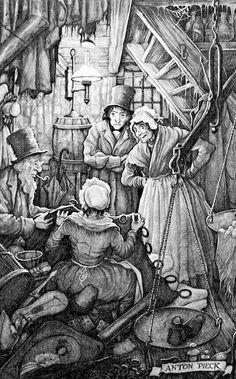 Pieck. Selling Scrooge's things.