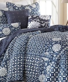 Zion Six-Piece Reversible Quilt Set, in a variety of classic indigo prints. This looks so well with crisp white