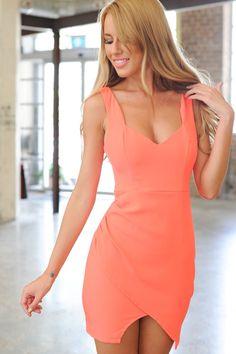 Sleeveless neon orange dress. V neckline/back. Visible back zip. Bodycon fit. Front overlay panel at skirt. Polyester.