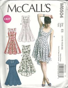 "M6504 semi-fitted and flared dresses with hemline and flounce variations. Cotton lawn, cotton blends, linen, chambray. 4 yds for 22 for fishtail version. 22"" zip. 99c in sale."