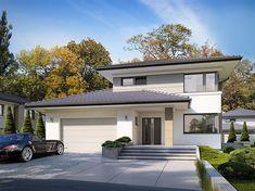Projekt domu piętrowego Karat 5 o pow. 156,82 m2 z obszernym garażem, z dachem kopertowym, z tarasem, sprawdź! Outdoor Decor, House, Home Decor, Future House, Wish, Decoration Home, Home, Room Decor, Home Interior Design