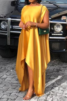 Material: Polyester Silhouette: Asymmetrical Dress Length: Floor-Length Sleeve Length: Short S. African Maxi Dresses, Latest African Fashion Dresses, African Print Fashion, African Attire, Ankara Dress Styles, Africa Fashion, African Wear, Simple Dresses, Elegant Dresses