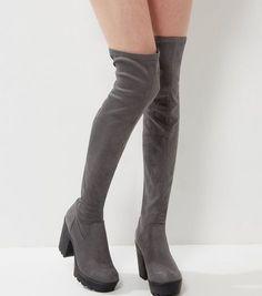 Grey Suedette Over The Knee Block Heel Boots