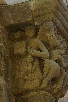 """""""La huida a Egipto"""". Iglesia de Santa María. Villanueva de Teverga (Asturias)  capitel romanico"""