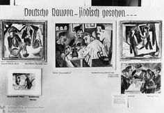 """Degenerate Art: """"German Peasants – From a Jewish Perspective"""" (1937). The photo shows the supposedly distorted representation of German peasants by the """"Jewish-Bolshevist"""" artists Ernst Ludwig Kirchner, Max Pechstein, and Karl Schmidt-Rottluff, three leading representatives of German Expressionism. In contrast, """"truly German"""" artists such as Leopold Schmutzler were said to strive solely for beauty and perfection."""