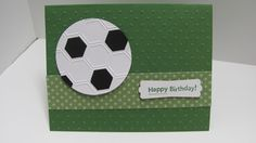 """punched out a circle with the 2 1/2"""" circle punch and then put it through the Stampin' Up! Honeycomb Embossing Folder and then I cut out some small black pieces to make the soccer ball."""