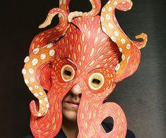 Octopus, Mascara Papel Mache, Costumes Faciles, Letterpress Machine, Linoleum Block Printing, Animal Masks, Masks Art, Halloween Kostüm, Halloween Costumes