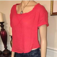 """Free People Top Bright Red Boxy Tee Raw Edge Scoop Tag Size - S Bust Measured Across - 23"""" Length from Shoulder to Hem - 21"""" Free People Tops Tees - Short Sleeve"""