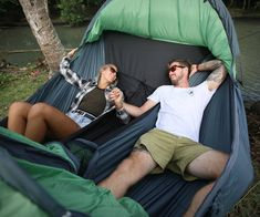 """Touted as """"the only camping hammock that sleeps two occupants comfortably,"""" the Vertex Double Hammock Tent lets you share the rest nest with that special Camping With A Baby, Diy Camping, Camping Survival, Family Camping, Camping Ideas, Outdoor Camping, Winter Camping, Bushcraft Camping, Camping Checklist"""