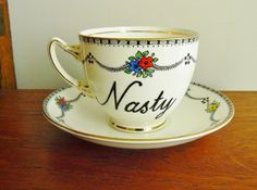 Nasty hand painted vintage bone china teacup by trixiedelicious