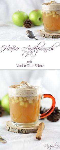 Heißer Apfelpunsch mit Vanille-Zimt-Sahne [alkoholfrei] - #apfelpunsch #punsch #warmesgetränk #vanillezimtsahne #alkoholfrei #alkoholfreierpunsch #wintergetränk #herbstgetränk #apfelrezept