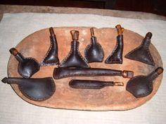 Primitive leather pouches for gun powder.