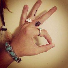 small lotus finger tattoo