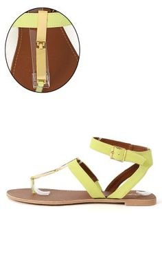 bbe637ed2 Qupid Athena710 T Strap Thong Sandals LEMON LIME 85    See this great  product.