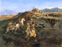 Sighting the Herd (Buffalo Hunt) by Charles Marion Russell