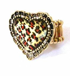 """Leopard Animal Print Heart Hearts 1.2"""" Diameter Stretch to Fit Ring"""