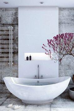 comment relooker une salle de bain, poser une baignoire grande