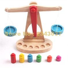 Wooden Balance Scale Montessori Education Wooden Toys Libra Pendulum Early Learning Weight Child Kids Intelligence Toys