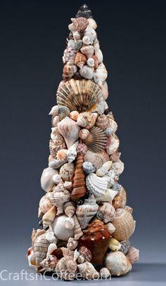 How to make a Seashell Topiary for beach theme home decor. #BeachThemeHomeDecor