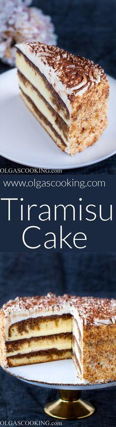Tiramisu Cake Recipe... holy cow. Lotta work but WOW is this cake a beauty!