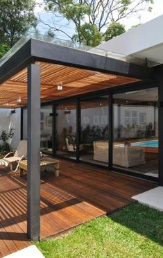 Pergola With Roof, Outdoor Pergola, Patio Roof, Diy Pergola, Small Pergola, Metal Pergola, Pergola Lighting, Backyard Patio Designs, Backyard Landscaping