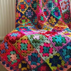 Crochet Afghan Blanket Rainbow CAROUSEL Granny Squares Bright