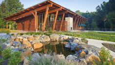 James and Anne Robinson Nature Center Columbia, MD Cabin Design, Wood Design, Large Log Cabins, Anne Robinson, Architect Magazine, Environmental Education, Nature Center, Outdoor Landscaping, Beautiful Buildings
