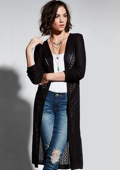 Pointelle Duster Cardigan Sweater