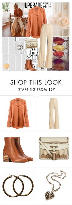 """Flared Trousers"" by mariamouzaki ❤ liked on Polyvore featuring Oris, E L L E R Y, Khaite, Gabriela Hearst and Burberry"