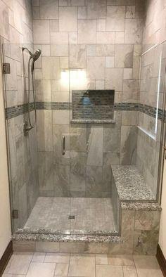 Custom Tile Shower - Shower Tile Walk In Bathroom Design and Ideas bathroom Bathroom shower Bathroom tiles Bathroom Design Small, Bathroom Layout, Bathroom Interior Design, Interior Paint, Master Bathroom Shower, Upstairs Bathrooms, Bathroom Ideas, Bathroom Shower Remodel, Bathroom Tile Showers