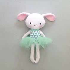 ★ This lovely cute doll is handmade and designed by me. Shes made of very soft minky fabric, cotton and tulle and stuffed with an anti allergenic stuffing. Her tutu skirt is detachable She measures approximately 36cm (14 inch) ★ She loves to be played with but will also make a very