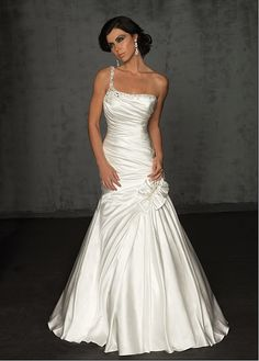 Fashionable Satin Princess One Shoulder Wedding Dress With Appliques ,Beadings and Rhinestones
