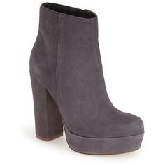 """Steve Madden 'Joanie' Platform Bootie, 4 3/4"""" heel ($150) ❤ liked on Polyvore featuring shoes, boots, ankle booties, ankle boots, grey suede, suede boots, high heel booties, grey suede booties and grey boots"""