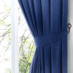 Marlow Home Co. A simple, classic, semi-plain print that will suit any room in the house. Ambudkar Curtain Tieback complete the matching look. Metal Curtain Tie Backs, Curtain Ties, Curtain Fabric, Denim Jeans, Extendable Curtain Pole, Tab Curtains, Decorative Hooks, Marlow, Steel Material