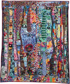 """Tie Quilt, 52 3/4"""" x 66"""", 2012 by Joe Mallard. Featured at Quilters Newsletter."""
