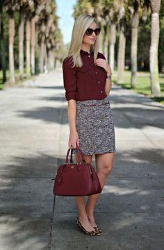 20 a burgundy shirt, a neutral printed skirt and leopard-print flats - Styleoholic