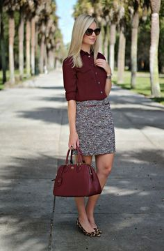 20 a burgundy shirt, a neutral printed skirt and leopard-print flats - Styleoholic