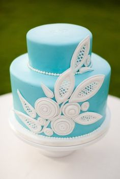 Blue wedding cake or occasion cake with white details, pretty!