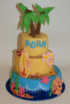 I wanted this one to resemble a kitch sovernier you might buy at the International Market Place in Honolulu. I think it worked pretty well and the birthday boy loved his beach party cake. Ocean Cakes, Beach Cakes, Beach Cake Smash, Surfboard Cake, Surfer Cake, Pool Cake, Beach Party, Ocean Party, Creative Cakes