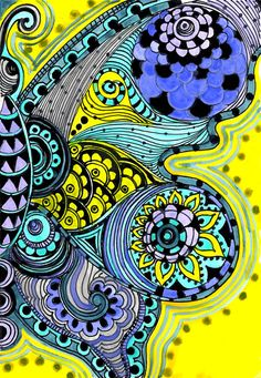 BUTTERFLY fine art PRINT yellow purple blue ink and by devikasart
