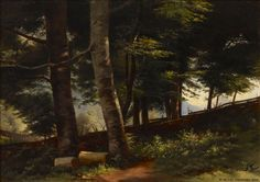 Fanny Churberg (Finnish, 1845 - In the forest (via Finnish National Gallery) National Gallery, Chur, Helsinki, Cool Landscapes, Nocturne, Modernism, Topiary, Greenery, Drawings